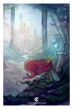 Child of Light watercolor art. I love the background's faded, low-saturated colors, and then Aurora's saturated, bright red-violet hair contrasting. It really catches your eye.