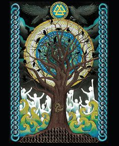 Ode to Odin by Lyndsey Hale. A beautiful poster design representing the tree of life Yggdrasil with Odin's valknut at top and ravens on the trees.