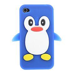 penguin patroon silicagel achterkant van de behuizing (assorti kleur)   home knop sticker (willekeurige kleur) voor de iPhone 4/4s – EUR € 4.89
