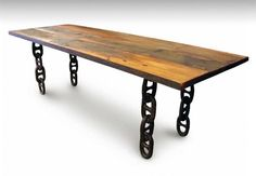 Check out the deal on Nautical Anchor Chain Leg Salvaged Wood Dining Table at Eco First Art Rustic Table, Wood Table, Dining Room Table, Vintage Table, Dining Rooms, Dining Area, Industrial Flooring, Industrial Furniture, Anchor Chain