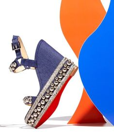 We're not sure about the socks, but we love everything else about these 'Rondaclou' denim wedge sandals from Christian Louboutin with polished studded Denim Pumps, Denim Sandals, Denim Boots, Wedge Sandals, Wedge Shoes, Red Louboutin, Christian Louboutin Shoes, Red Bottom Shoes, Hot Shoes