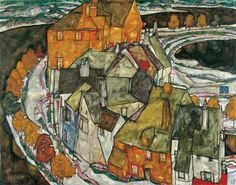 dreams-in-my-sky:   Egon Schiele, Crescent of houses, 1915  .