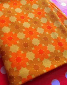 60s Swedish mod groovy fabric in heavy cotton. Unused. by Inspiria, $20.00