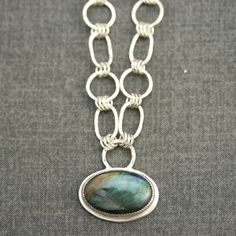 Oval Labradorite Handmade Chain Necklace Grey by LizardiJewelry