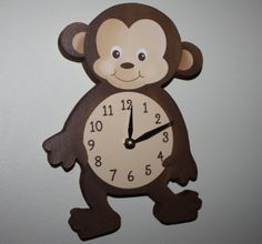 Monkey Wooden WALL CLOCK for Kids Bedroom Baby Nursery