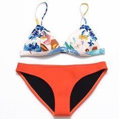 2017 Mujeres Del Verano Triángulo Bikini Set Neopreno Neopreno Neopreno Del Traje de Baño Bikini Floral Bikini Trajes de Baño en Bikinis Set de Deportes y Entretenimiento en AliExpress.com | Alibaba Group