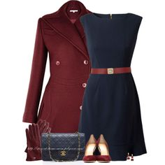 Burgundy & Navy by stay-at-home-mom on Polyvore featuring Lipsy, Charlotte Olympia, Chanel, Principles by Ben de Lisi, Maison Boinet, navy, CharlotteOlympia, burgundy and coat