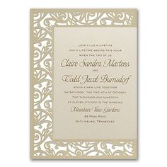 Fancy Detail - Ecru Weddding Invitation  |  40% OFF  |  http://mediaplus.carlsoncraft.com/Wedding/Wedding-Invitations/3150-FVN8585-Fancy-Detail--Ecru--Invitation.pro