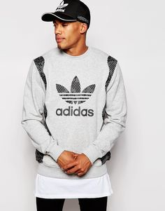 """Sweatshirt by adidas Originals Soft-touch sweat Crew neck Snake-look logo print Ribbed trims Regular fit - true to size Machine wash 70% Cotton, 30% Polyester Our model wears a size Medium and is 178cm/5'10"""" tall"""