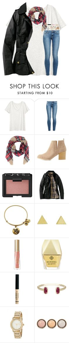 """""""What is the temperature where you live?"""" by southern-belle606 ❤ liked on Polyvore featuring H&M, Paige Denim, Armitage Avenue, Charlotte Russe, NARS Cosmetics, Barbour, Alex and Ani, Jennifer Meyer Jewelry, Kendra Scott and Bourjois"""