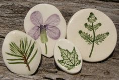 PRESSED PLANT POTTERY PINS WITH MICHIGAN by patulskicollectibles, $20.00