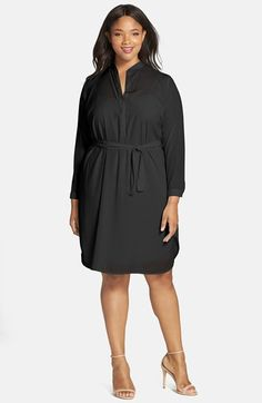 Plus Size Split Neck Shirtdress