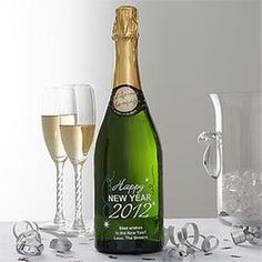 Love this for Larry's B'day as it is New Years Eve!!   New Year's Eve Personalized Champagne Bottle! Hooray!
