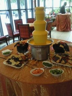 A Nacho Cheese fountain and Chilli Bar gets an over the top reaction from so many! Works great for the bachelor party for golf tournament. Try with chips and chilli, sour cream, salsa etc