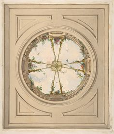 Jules-Edmond-Charles Lachaise | Design for a ceiling painted with clouds and trellis work | The Met