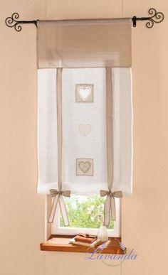 Záves na okno Srdce, nostalgický dizajn