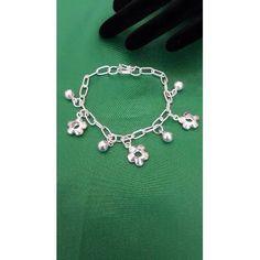 924691b1047e Pulsera Para Mujer De Plata 950 Flores Y Bolastipo Esclava - Pulseras en  Joyas