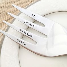 068cbdae99524 11th anniversary gift. 11 forkin awesome years. Traditional stainless steel  serving fork gift. hand