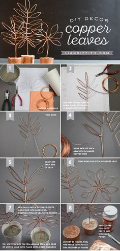 Copper Wire Leaf Decor / An easy DIY project that's fabulous & functional! Use the photo tutorial to make stylish copper wire leaf decor that doubles as a jewelry stand.