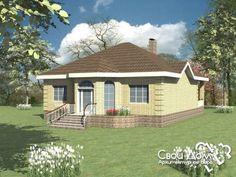 Проект одноэтажного дома с гостиной и кухней-столовой B-069jjj