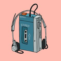 Walkman Art Print by Shoooes - X-Small Aesthetic Drawing, Retro Aesthetic, Aesthetic Anime, Music Drawings, Art Drawings, Music Illustration, Illustrations, Retro Radios, Shadow Art