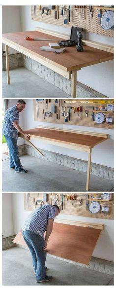 47 Fabulous Folding Wall Table Ideas That Saving Space - DIY Furniture Plans Wall Table Diy, Wall Table Folding, Fold Out Table, Folding Walls, Wall Tables, Ladder Storage, Ceiling Storage, Garage Storage, Diy Storage