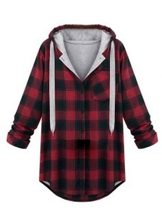 Red Plaid Hoodie Coat - it's like a coat and a hoodie and lumberjack plaid all rolled into one and for some reason I think it's awesome!