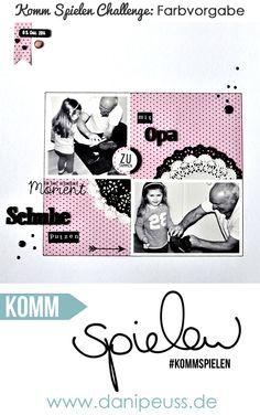 #KommSpielen Farbchallenge: verwende schwarz/weiß-Fotos und maximal 3 Farben auf deinem Layout   Layout von Ulrike für www.danipeuss.de