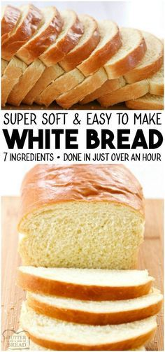 bread recipes White Bread recipe made with basic ingredients amp; detailed instructions showing how to make bread! Done in just over an hour this recipeis one of the best soft white sandwich bread recipes. from BUTTER WITH A SIDE OF BREAD Sandwich Bread Recipes, Loaf Recipes, Easy Bread Recipes, Easy Sandwich Bread Recipe, White Bread Sandwich Recipes, Easy Healthy Bread Recipe, Bread Flour Recipes, Beginner Baking Recipes, Loaf Bread Recipe