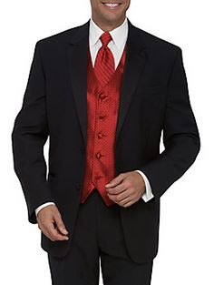 Guys will look similar to this...but with a little darker red and maybe different textures on the vest and tie.