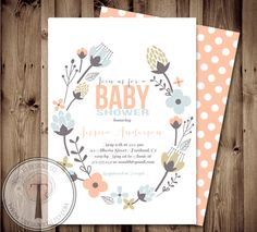 Baby Shower Invitation, BABY GIRL, Floral, Shabby Chic, Baby Shower,invite, Invitation (free thank you cards for may)