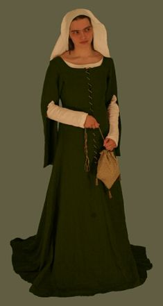 Medieval Clothing and Footwear- 14th- 15th Century Wool Frontlaced Gown