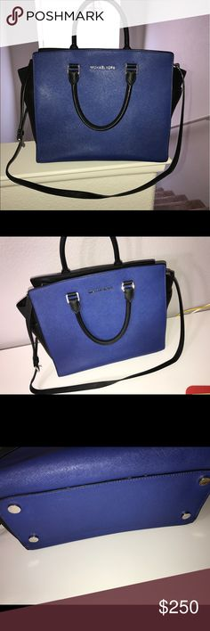 Michael Kors Selma bag Great condition. Black and blue Michael Kors Bags Shoulder Bags