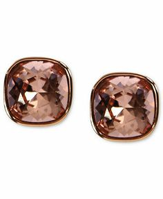 Givenchy Earrings, Rose Gold-Tone Vintage Rose Swarovski Element Square Button Earrings (2/5 ct. t.w.)