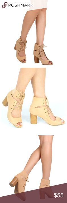 c506ca1fce1 Nude Lace Up Peep Toe Booties WHO SAYS BOOTIES CAN T BE SEXY  THESE