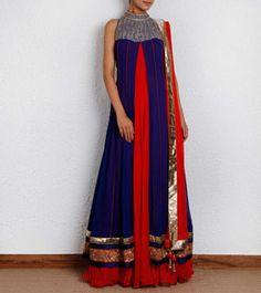 Blue & Red Georgette Anarkali Dress with Aari Work