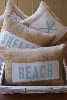 DIY-Beachy Burlap Pillows. Make these for the beach house up north.