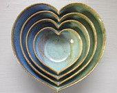 four nesting ceramic heart bowls
