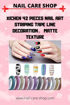 14 colors, 3 sizes, a total of 42 volumes of nail decoration. Striping Tape, Nail Decorations, Nail Care, Purple, Pink, Personal Care, Texture, Nails, Colors