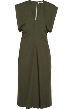 Jil Sander - Wool Midi Dress - Army green - FR36