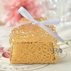 36pcs Gold Romantic Ribbon Couple Wedding Favor Party Candy Rose Boxes Gift Box