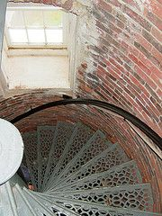 spiral staircase inside Pemaquid Point Lighthouse