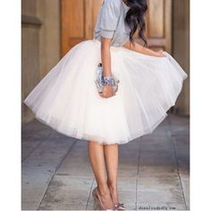 Endearing Solid Color Gauzy Fluffy Layered Skirt For Women - WHITE - S in Skirts - Polyester Mid-Calf Ball Gown 471633