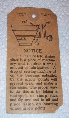 Vintage One of A Kind Hoosier Cabinet Flour Bin Sifter Care Tag   eBay