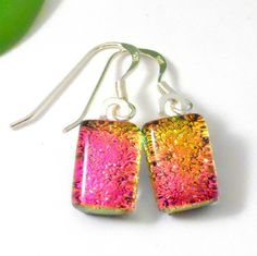 Fuchsia Pink Dichroic Glass Dangle Earrings, Sterling Silver Earwires