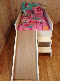 DIY toddler bed with slide. Toddler Bed With Slide, Diy Toddler Bed, Toddler Rooms, Big Girl Rooms, Boy Room, Kids Room, Diy Bed, Bed Design, Girls Bedroom