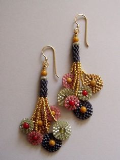 Klimt multi-circle earrings by Jeka Lambert. Seed bead woven. Coral, Jasper glass beads, 24K gold plated beads, seed beads.