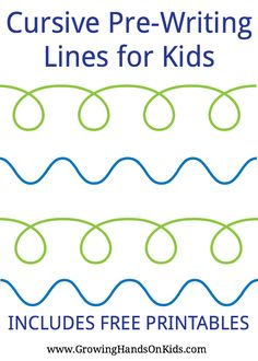 Cursive pre-writing line and stroke printables for preschoolers and kids.