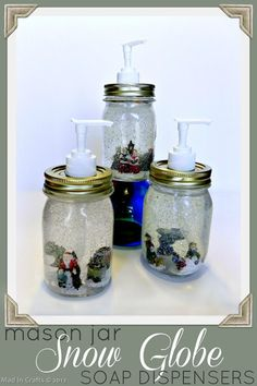 Dollar Store Mason Jar Snow Globe Soap Dispensers - Mad in Crafts {I wouldn't want to put glitter in my soap.my sister suggested using glitter glue and painting the inside first, then filling with soap. Mason Jar Projects, Mason Jar Crafts, Mason Jar Diy, Mason Har, Diy Projects, Diy Snow Globe, Snow Globes, Diy Christmas Gifts, Christmas Crafts
