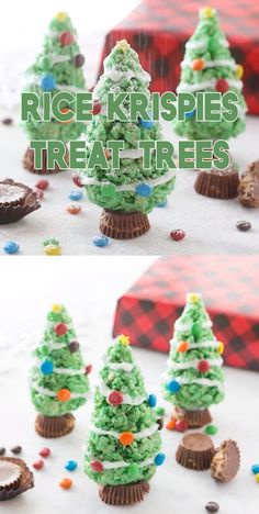 Adorable Rice Krispies Treat Trees for Christmas These are such a fun dessert for Christmas Parties that kids will love So simple to make and a great addition to any holiday party for Christmas party recipe christmas trees treats snacks kids Christmas Desserts Easy, Christmas Snacks, Xmas Food, Christmas Cupcakes, Christmas Cooking, Christmas Goodies, Simple Christmas, Holiday Treats, Christmas Parties